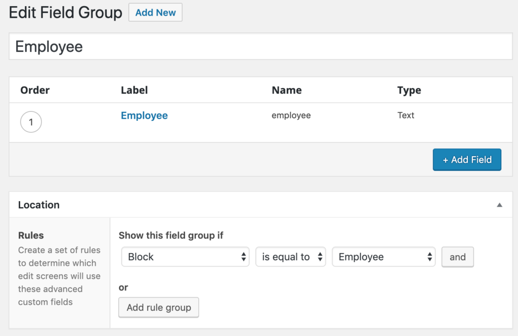Adding a new employee custom field