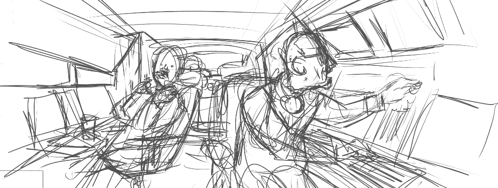 A simple, black and white sketch of two cops in a surveillance van.