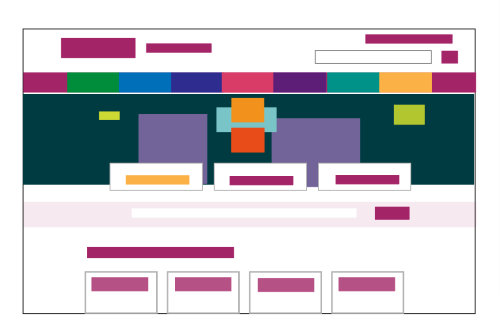A simple graph showing the contrats between the colours of the illustration and the rest of the homepage.