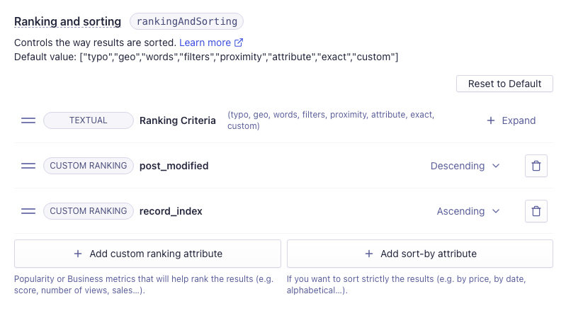 Algolia indices ranking and sorting screen